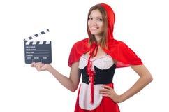 红色敞篷的女孩 库存图片