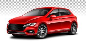 红色斜背式的汽车普通汽车 有光滑的表面的城市汽车在白色背景 库存照片