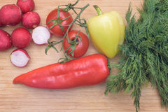 红色新鲜的萝卜、蕃茄、绿色和红辣椒和绿色莳萝在木厨房板 免版税库存照片