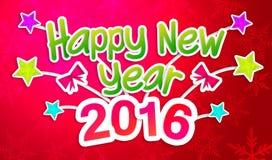 红色新年快乐2016年招呼的加工印刷纸卡片 图库摄影