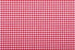 红色方格的织品 免版税库存照片