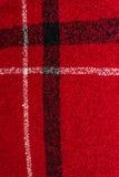 红色方格的织地不很细羊毛背景的垂直的图象 库存图片
