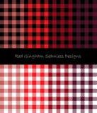 红色方格花布无缝的设计 向量例证