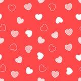 红色无缝的心脏样式 免版税库存图片