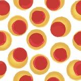 红色无缝的样式的小点黄色和 免版税库存照片