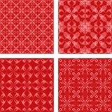 红色无缝的样式背景集合 库存例证
