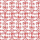 红色无缝的水彩ikat样式 免版税图库摄影