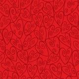 红色无缝的漩涡心脏样式 免版税库存照片