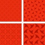 红色无缝的背景集合 免版税库存图片