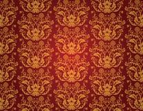 红色无缝的葡萄酒墙纸 免版税库存照片