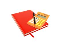 红色日志、在白色隔绝的计算器和笔 免版税库存图片