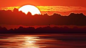 红色日落和强光的例证在水 免版税图库摄影