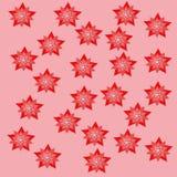 红色星变粉红色backgraund attern纸自然设计装饰元素 向量例证