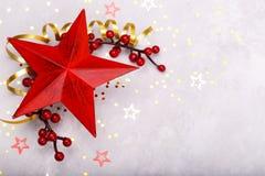 红色星圣诞节装饰 库存图片