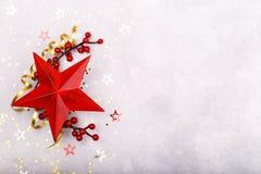 红色星圣诞节装饰 免版税库存照片