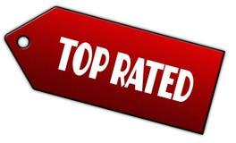 红色最高评价的标签 免版税图库摄影