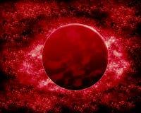 红色月亮和行星-幻想空间 免版税库存图片