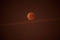 红色月亮自然风景 免版税库存照片