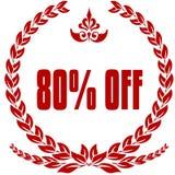 红色月桂树徽章的80% 库存图片