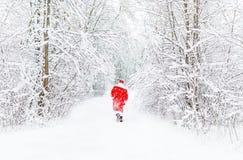 红色服装步行的圣诞老人在远处冬天森林里 回到视图 免版税库存照片