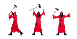红色服装的刽子手有在白色的轴的 库存照片
