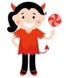 红色服装的逗人喜爱的矮小的恶魔女孩 库存图片