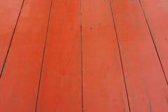 红色木板条纹理 免版税库存照片