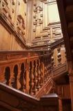 红色木楼梯 免版税图库摄影