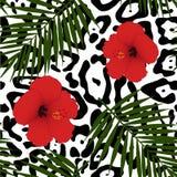 红色木槿和棕榈叶无缝的样式 免版税库存图片