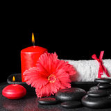 红色木槿的美好的温泉概念开花与露水,蜡烛a 免版税库存图片