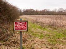 红色木私有财产标志农场土地没有优先权没有pu 库存图片