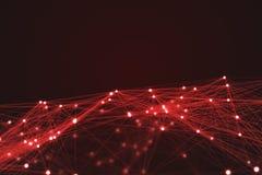 红色未来派技术连接形状 免版税图库摄影