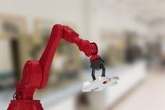 红色机器人手的综合图象有七巧板的3d 免版税库存照片
