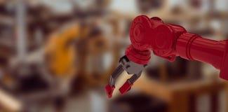 红色机器人胳膊低角度视图的综合图象有黑爪的3d 免版税库存图片