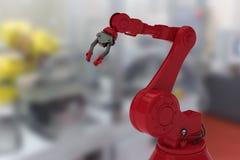 红色机器人胳膊的综合图象有黑爪的3d 免版税图库摄影