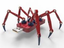 红色机器人USB闪光蜘蛛 免版税库存图片