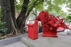 红色机器在redtory创造性的庭院,广州,瓷里 免版税库存照片