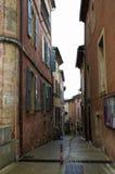 红色村庄,砂岩地区在Rousillon,南法国,欧洲 免版税库存照片