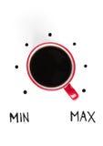 红色杯子最大能量的早晨咖啡 免版税库存照片