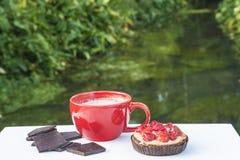 红色杯子热巧克力和草莓结块 免版税库存照片