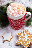 红色杯子用热巧克力 库存照片