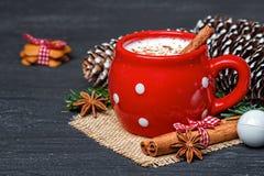 红色杯子用热的白色巧克力和姜饼曲奇饼 库存照片