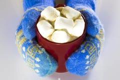 红色杯子顶视图热巧克力和蛋白软糖在女性 免版税库存照片