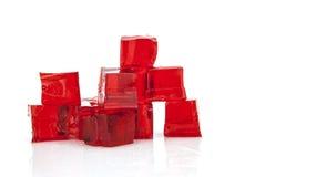 红色果冻立方体  免版税库存图片