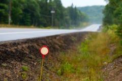 红色标志和高速公路 免版税库存照片