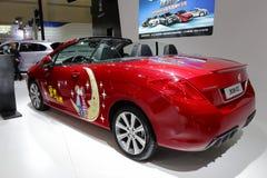红色标致汽车308cc背面图 免版税库存照片