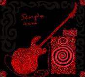 红色样式低音吉他 免版税库存照片