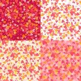 红色桃红色和黄色心脏无缝的样式背景 免版税库存图片
