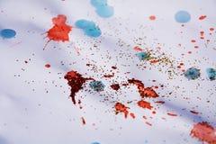 红色桃红色斑点构造,给五颜六色的冬天背景打蜡 免版税库存图片