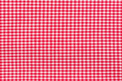 红色桌布 喂res照片 库存照片